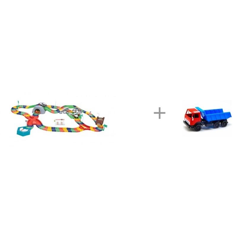 1 Toy Гибкий трек Большое путешествие 249 деталей и автомобиль Орион Самосвал Х1