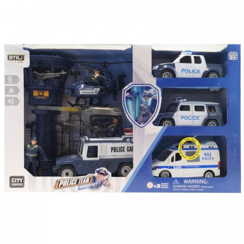 HK Industries  Игровой набор Полицейские, машина, грузовики, вертолет, башня с функцией Try Me