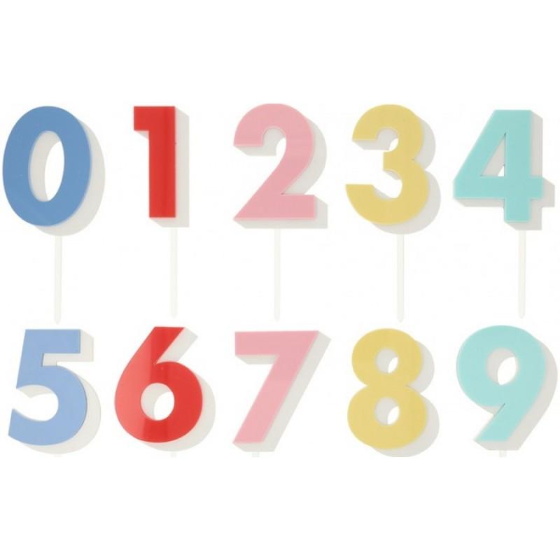 MeriMeri Разноцветный набор цифр для торта