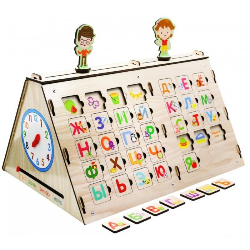 Деревянная игрушка Paremo Бизиборд Учимся читать и считать