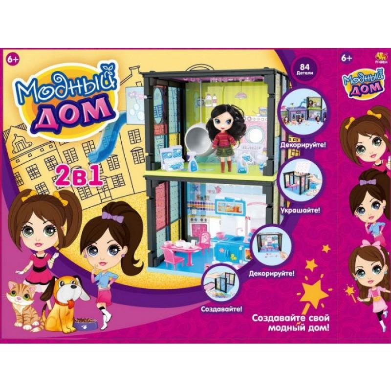 ABtoys Модный дом с куклой и мебелью 2 в 1 (84 детали)