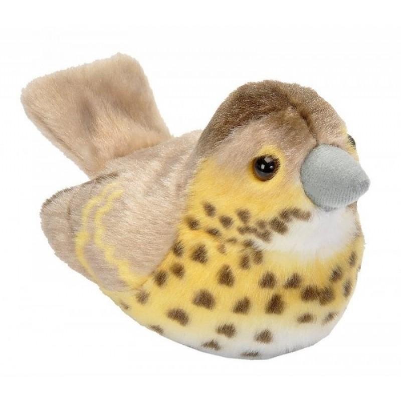 Мягкая игрушка Wild Republic Птица озвученная Дрозд певчий 15 см