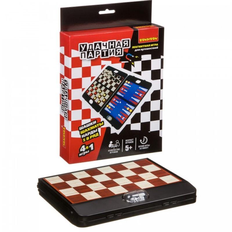 Bondibon Удачная партия 4 в 1 (шахматы, шашки, нарды, 5 в ряд)