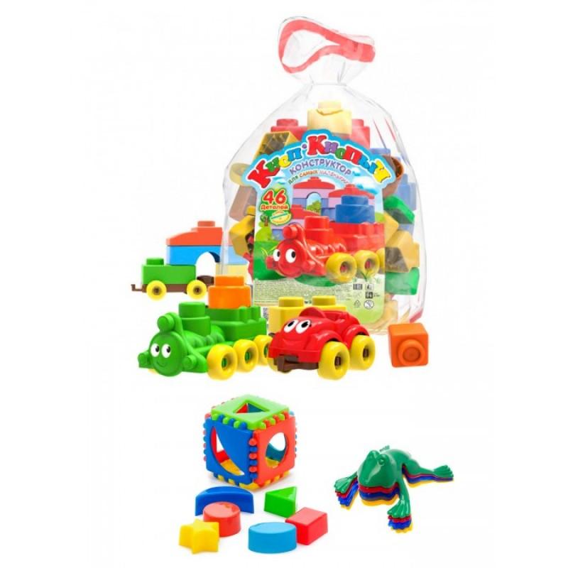 Развивающая игрушка Тебе-Игрушка Кубик логический малый + Конструктор Кноп-Кнопыч 46 деталей + Команда ква №1