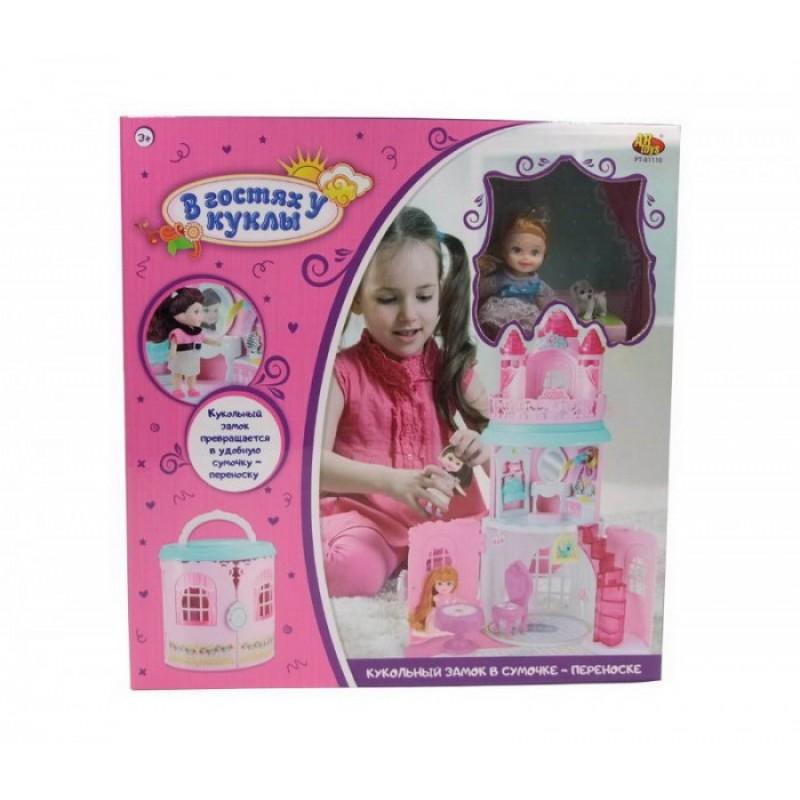 ABtoys В гостях у куклы Замок кукольный в сумочке-переноске с куклой и аксессуарами