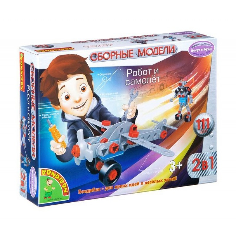 Конструктор Bondibon Сборные модели Робот и самолёт 2 в 1 (111 деталей)