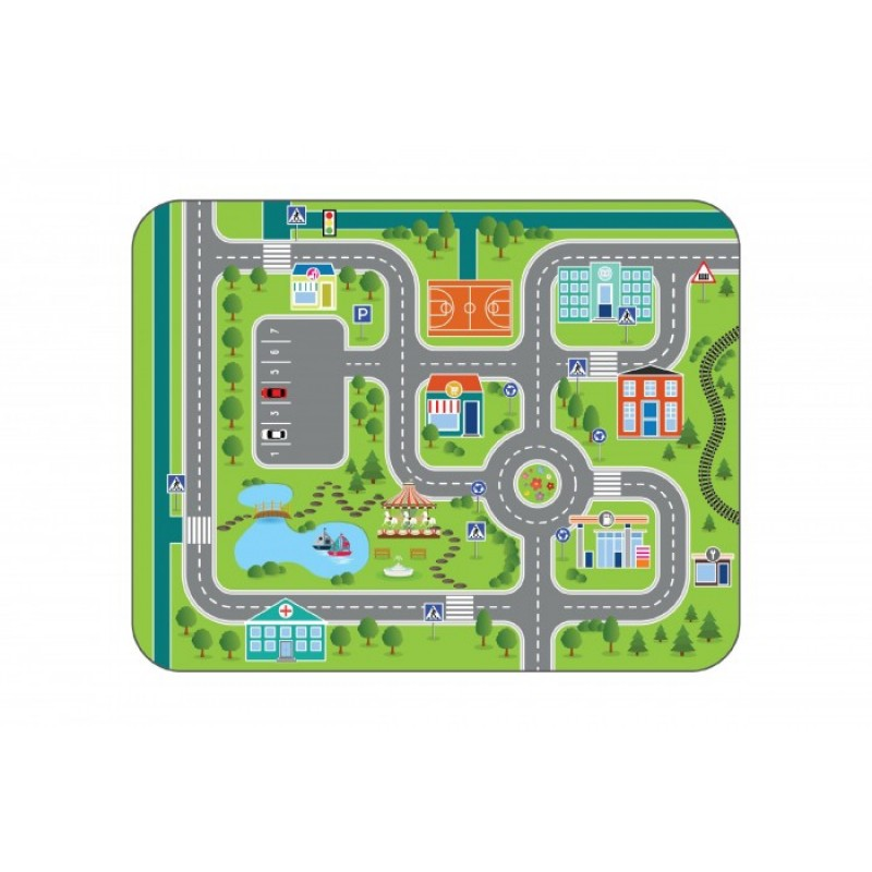 Игровой коврик Wolli Matlig плюшевый Городские дороги 3 в 1 130х180 см