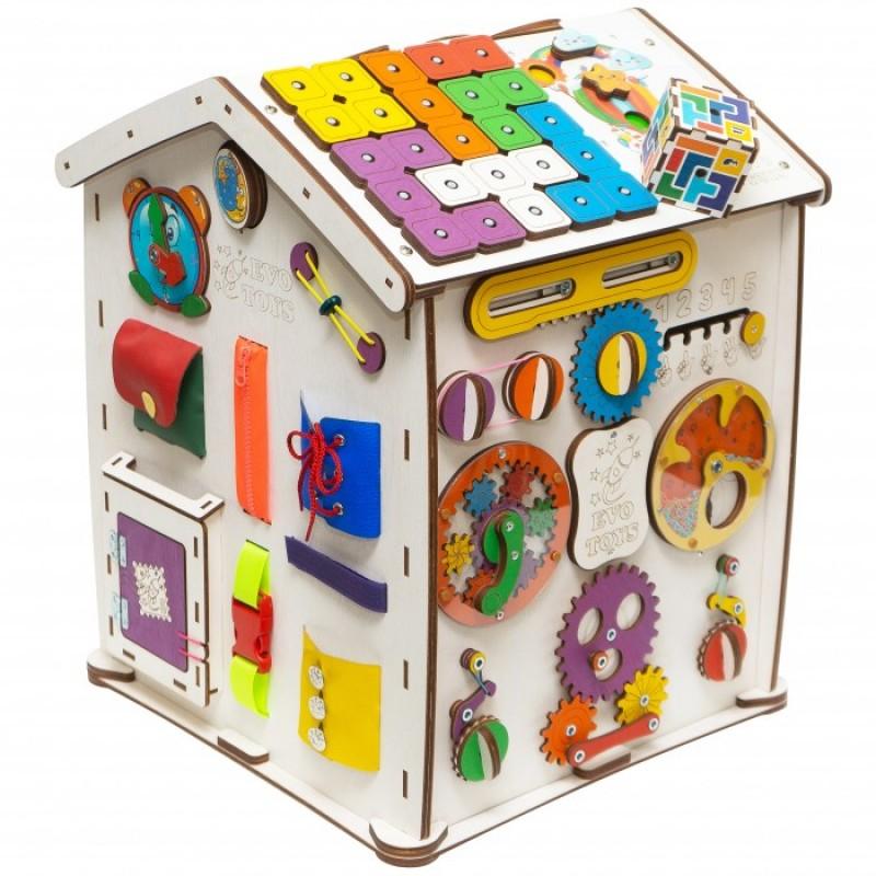 Деревянная игрушка Evotoys Бизиборд домик Знайка Семицветик Макси