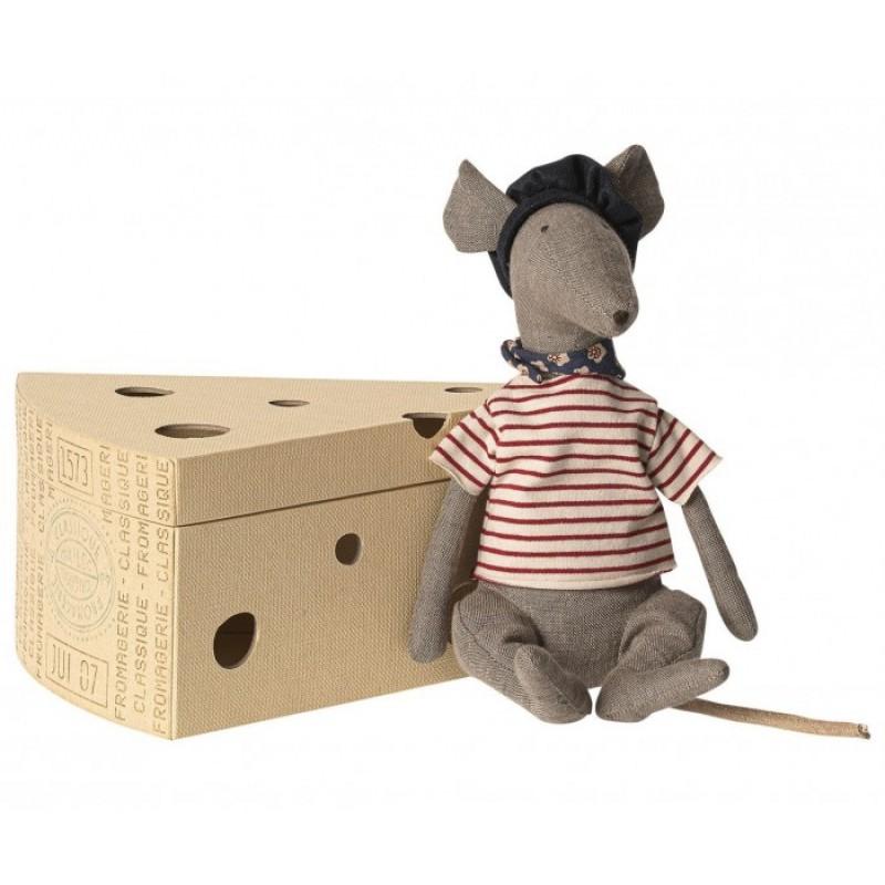 Мягкая игрушка Maileg Крыса в сырной коробке 25 см