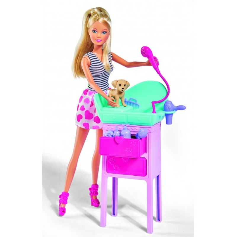 Simba Кукла Штеффи с двумя собачками, столик, 8 аксессуаров 29 см
