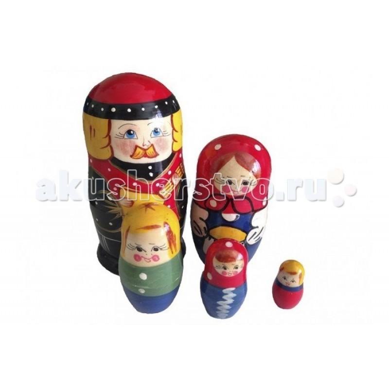 Деревянная игрушка RNToys Матрешка Семья батюшка 5 в 1