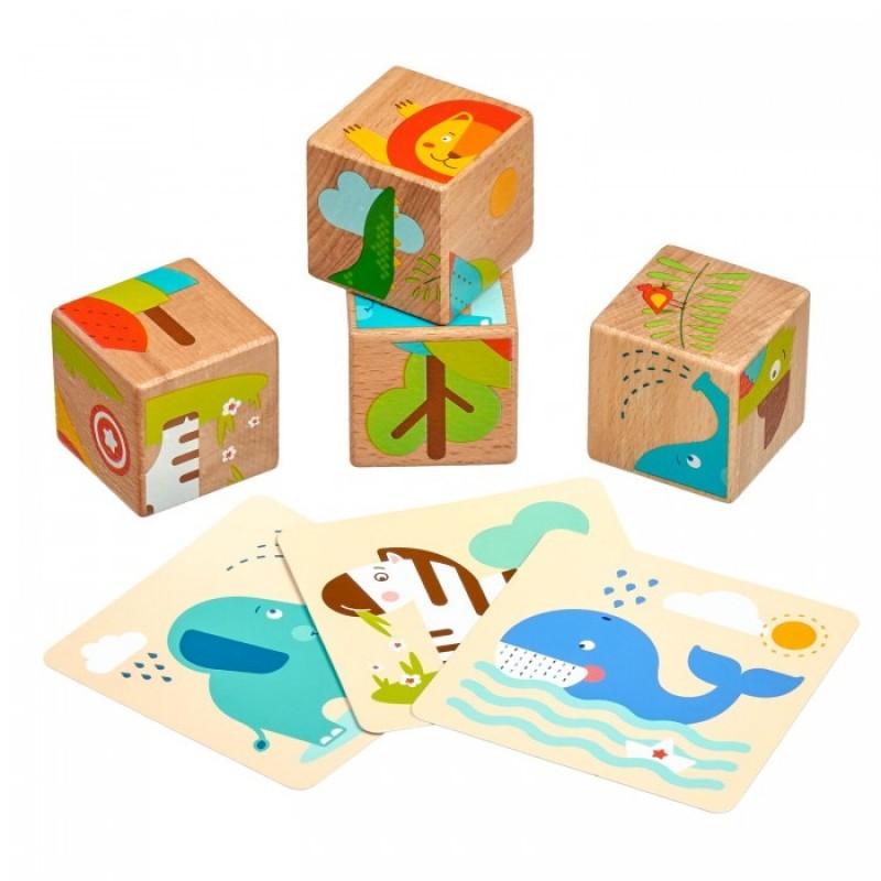 Деревянная игрушка Lucy & Leo Набор кубиков Дикие животные