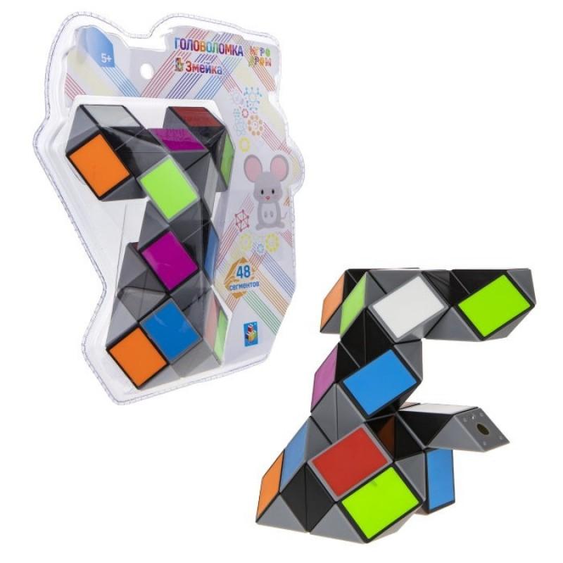 1 Toy Головоломка Змейка разноцветная Мышонок (48 сегментов)