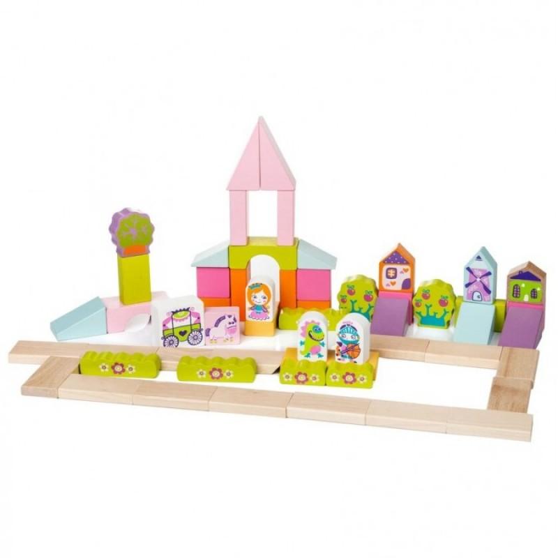 Деревянная игрушка Cubika Город для девочек (55 деталей)