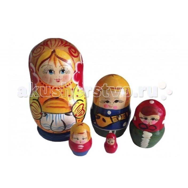 Деревянная игрушка RNToys Матрешка Семья матушка 5 в 1
