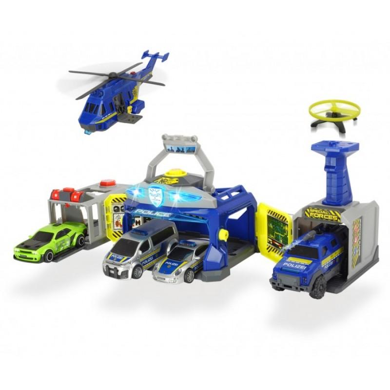 Dickie Полицейский штаб 4 машины + 1 вертолет
