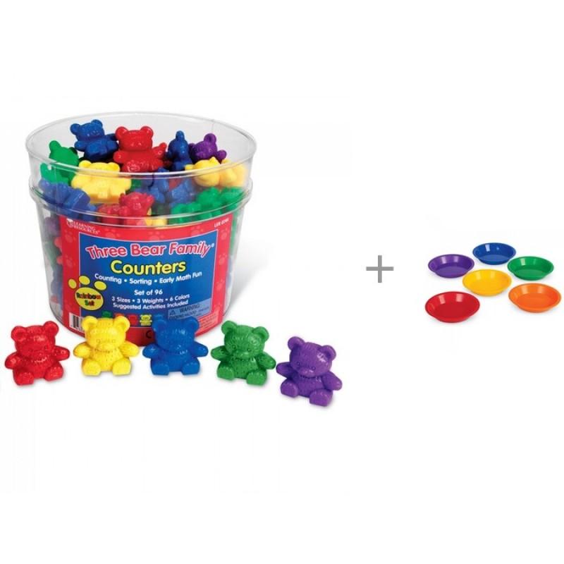 Learning Resources Игровой набор фигурок Семейка медведей и Цветные тарелки для канцелярских товаров