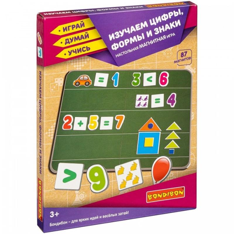 Bondibon Магнитная игра Изучаем цифры, формы и знаки (87 магнитов)