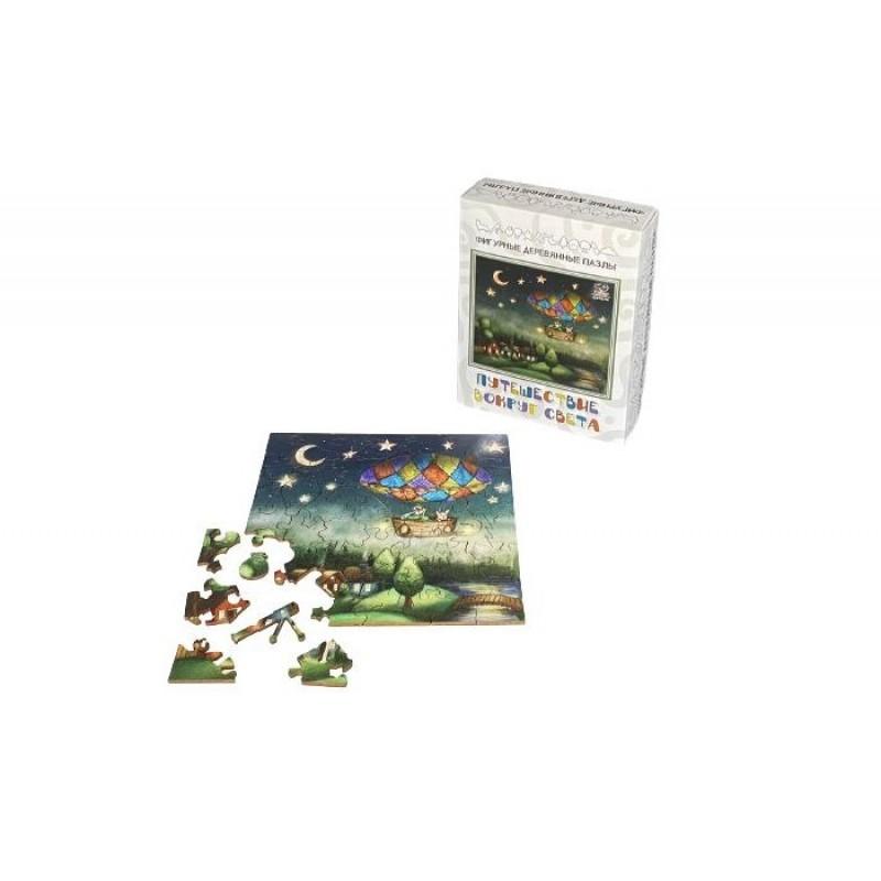 Деревянная игрушка Нескучные Игры Фигурный пазл Путешествие вокруг света (50 элементов)
