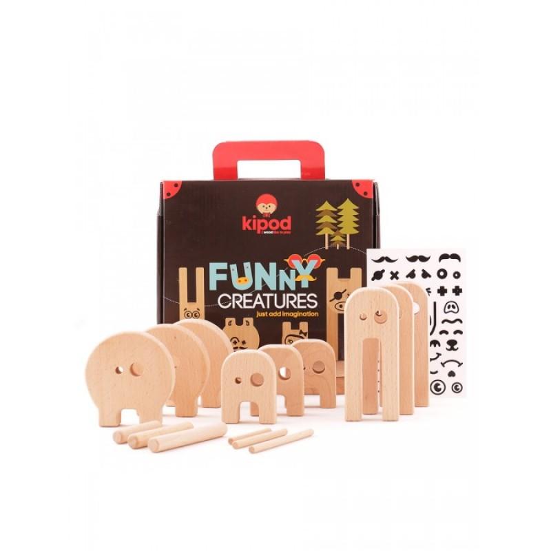 Деревянная игрушка Kipod Toys Конструктор Веселый зверинец с наклейками