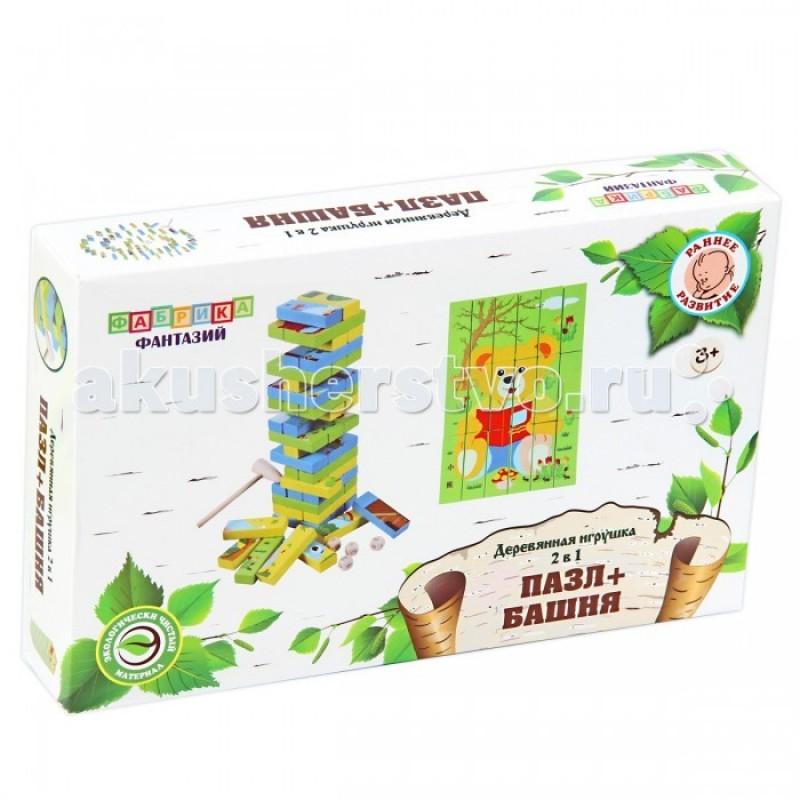 Деревянная игрушка Фабрика фантазий 2 в 1 Пазл и Башня Слоник и Мишка