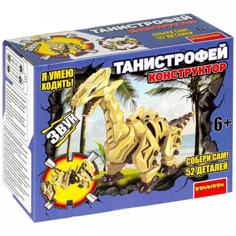 Конструктор Bondibon подвижный Собери динозавра Танистрофей со звуком (52 детали)