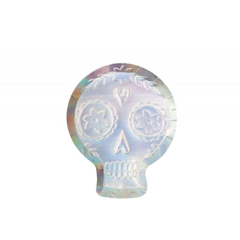 MeriMeri Тарелки с голографией Сахарный череп