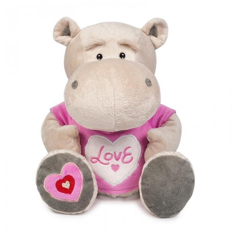 Мягкая игрушка Maxitoys Бегемот Боня в маечке с сердцем 23 см