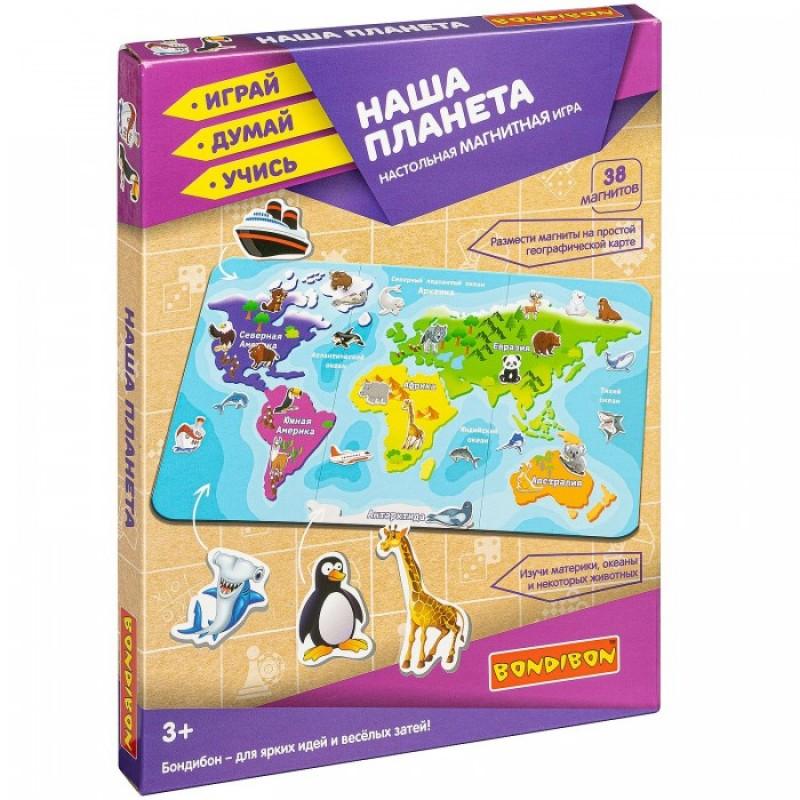 Bondibon Магнитная игра Наша планета карта мира (38 магнитов)