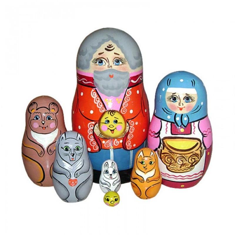 Деревянная игрушка Русская народная игрушка (РНИ) Матрешка Колобок 7 фигурок