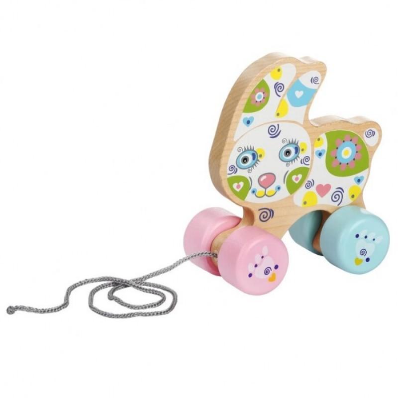 Каталка-игрушка Cubika Веселый зайчонок