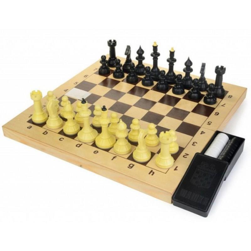 ВладСпортПром Настольная игра Шахматы, шашки с шахматной доской 40х40 см