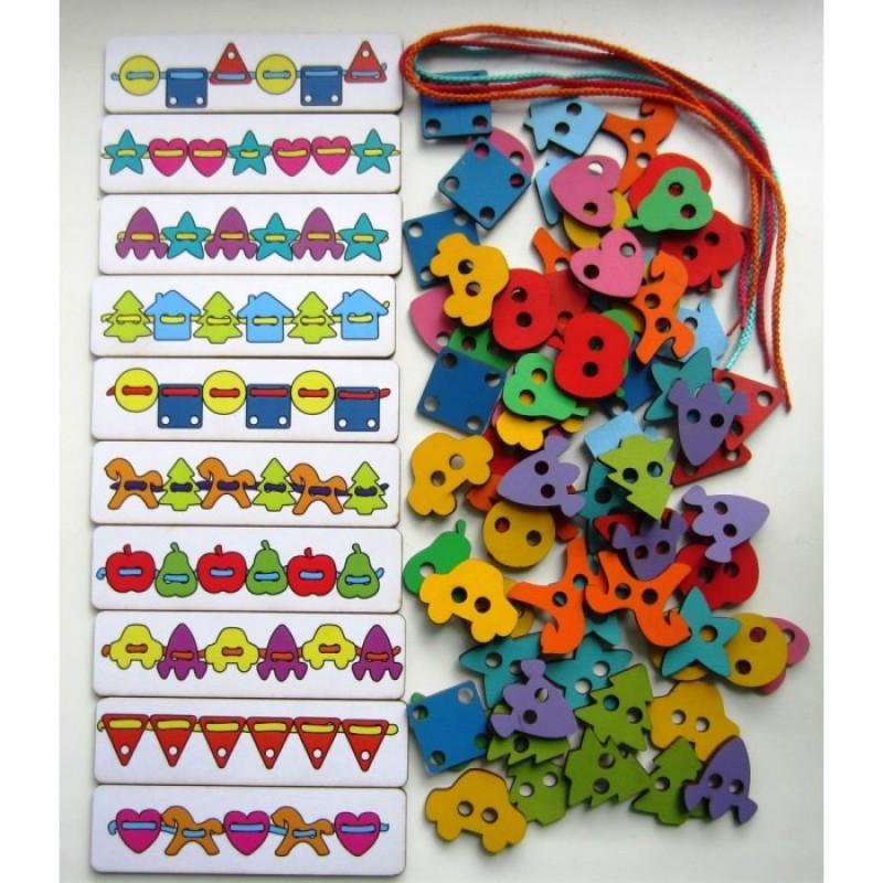 Деревянная игрушка Смайл Декор Большой шнуровальный набор (72 детали)
