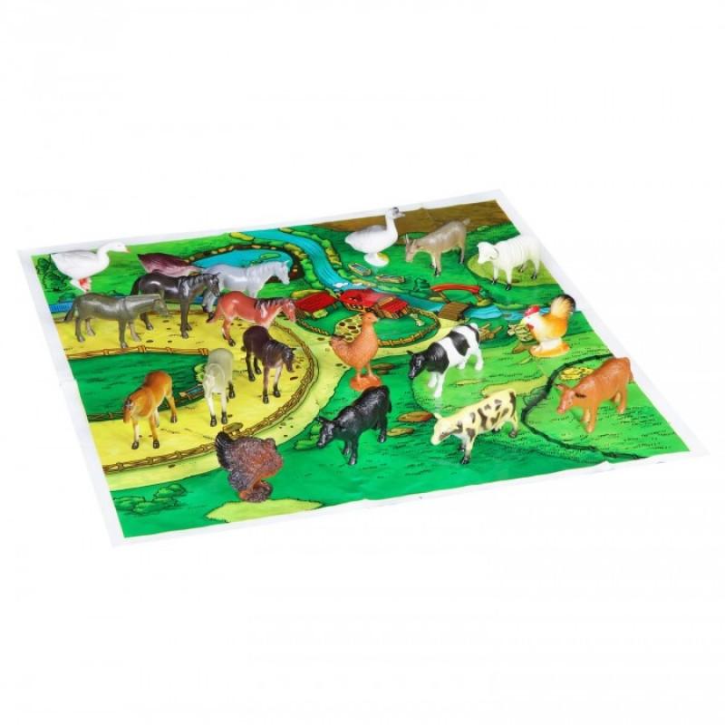 Bondibon Набор животных Ребятам о Зверятах Домашние животные и птицы 4 дюйма 20 шт. с игровым полем
