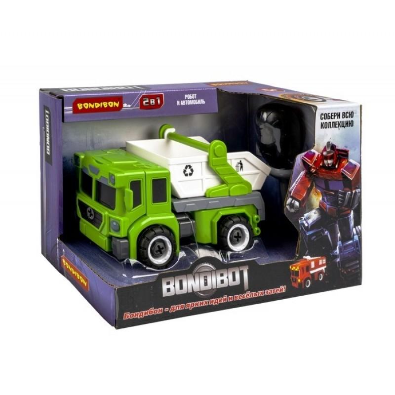 Bondibon Трансформер-конструктор с отвёрткой Bondibot 2 в 1 Робот-мусоровоз ВВ5258