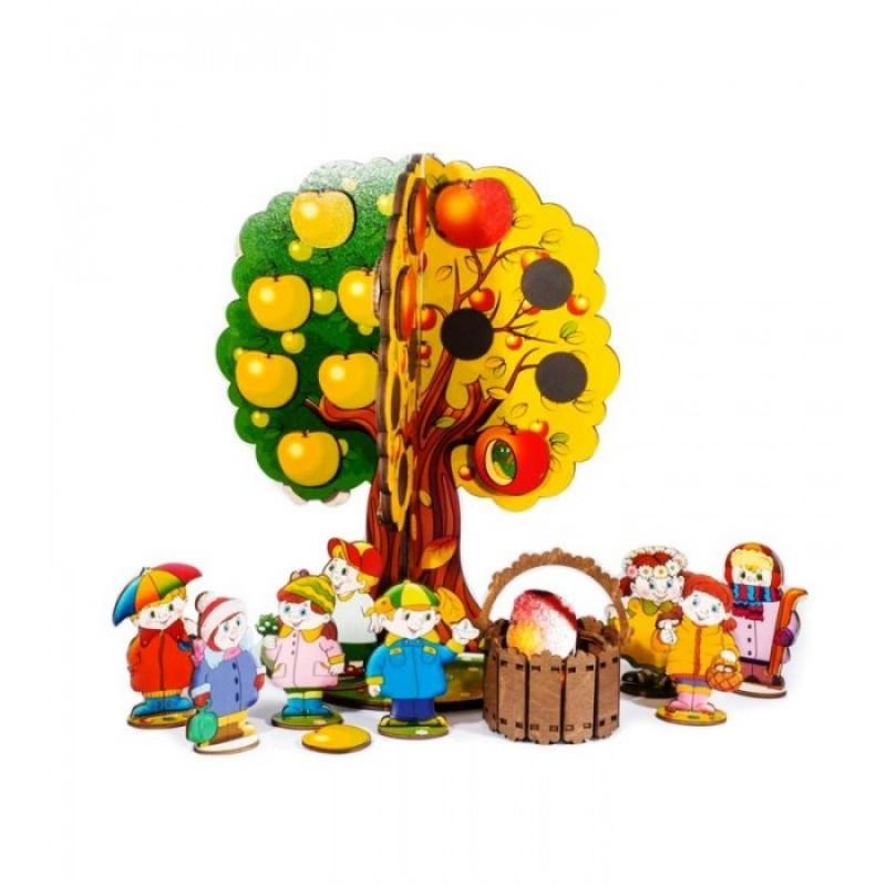Деревянная игрушка Нескучные Игры Магнитная игра Яблоня Времена года