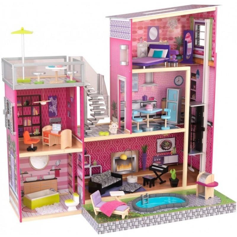 KidKraft Дом мечты Барби Глянец с мебелью 35 предметов и бассейном