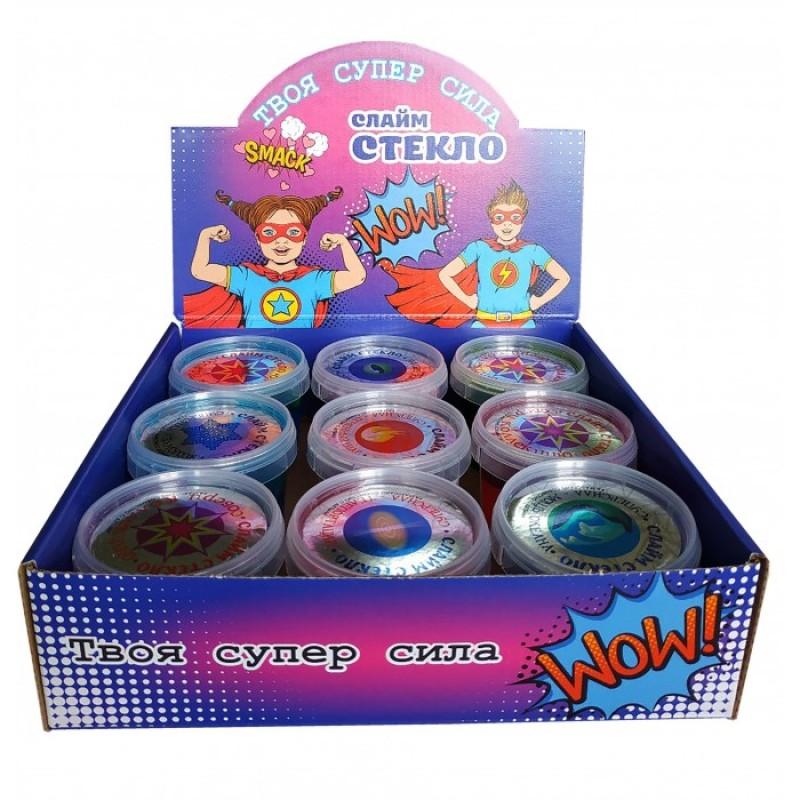Развивающая игрушка Слайм Стекло Набор в боксе разных видов 9 шт по 90 гр.
