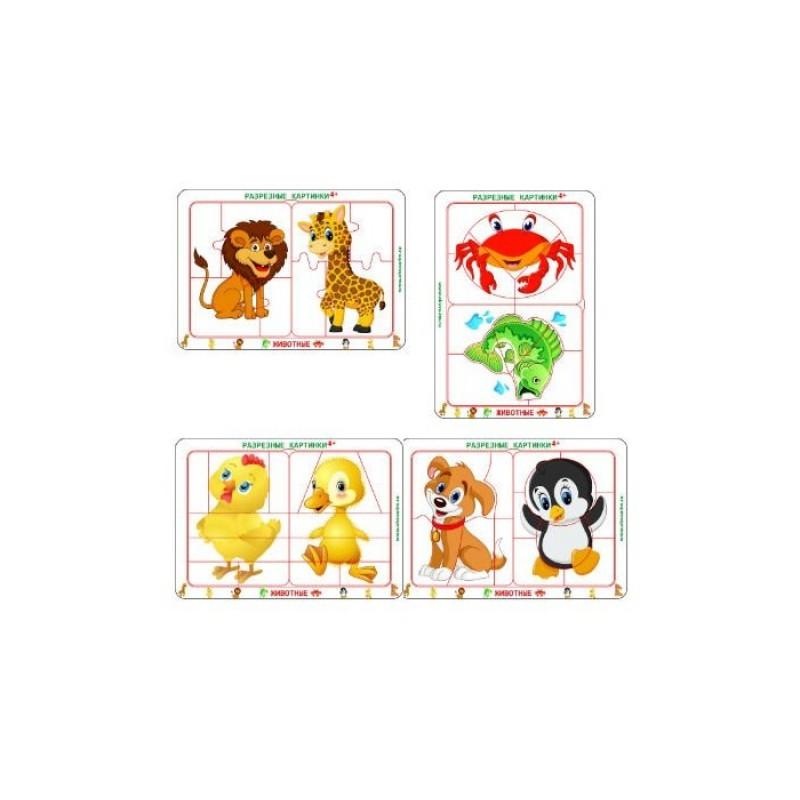 Деревянная игрушка Оксва Набор разрезных картинок Животные