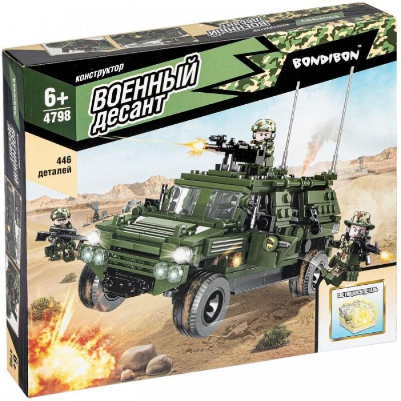 Конструктор Bondibon Военный Десант Разведывательная машина со светящимся элементом (446 деталей)