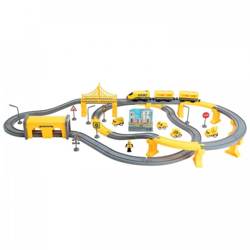 Givito Железная дорога Строительная площадка на батарейках со звуком (92 предмета)