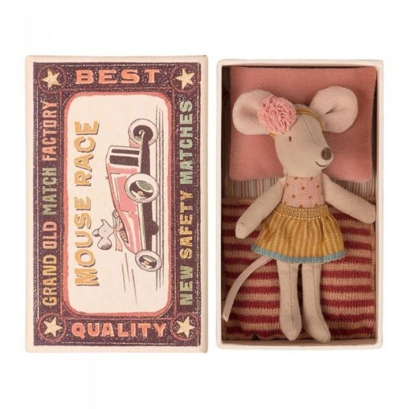 Мягкая игрушка Maileg Мышка младшая сестра в коробке 10 см