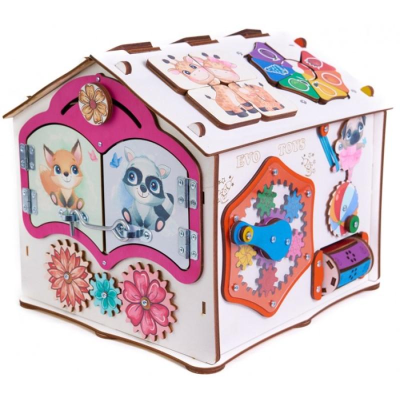Деревянная игрушка Evotoys Бизиборд домик Знайка Тимка со светом 29х25х25 см