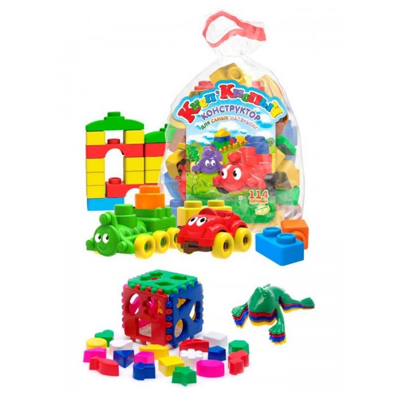 Развивающая игрушка Тебе-Игрушка Кубик логический большой + Конструктор Кноп-Кнопыч 114 деталей + Команда ква №1
