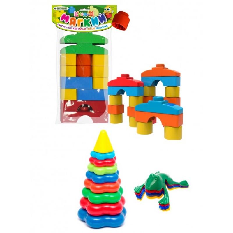 Развивающая игрушка Тебе-Игрушка Пирамида детская большая + Мягкий конструктор для малышей Кнопик + Команда Ква № 1