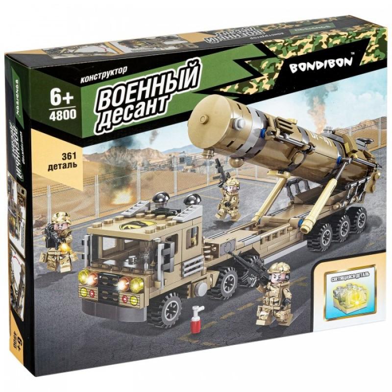 Конструктор Bondibon Военный Десант Ракетная установка со светящимся элементом (361 деталь)