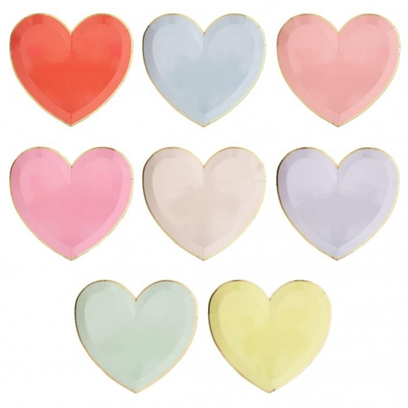MeriMeri Тарелки пастельные в форме сердца Палитра