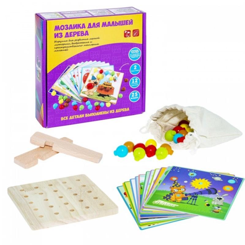 Bondibon Мозаика для малышей из дерева 12 шаблонов 25 фишек 5 цветов