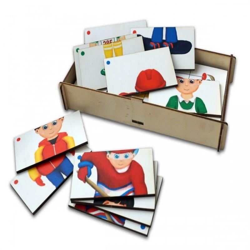 Деревянная игрушка Paremo Игровой набор Составные картинки Спорт 3