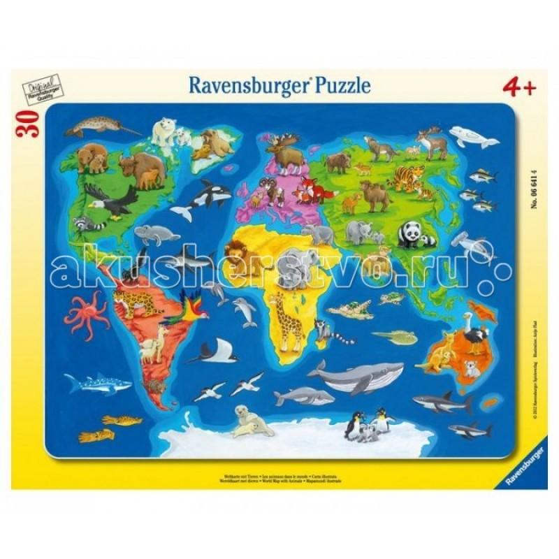 Ravensburger Пазл Карта мира с животными 30 элементов